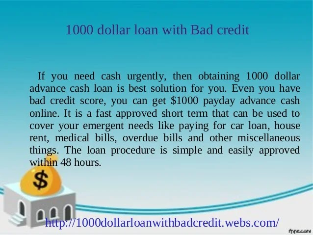1000 dollar loan for bad credit: Get up to $1000 instantly