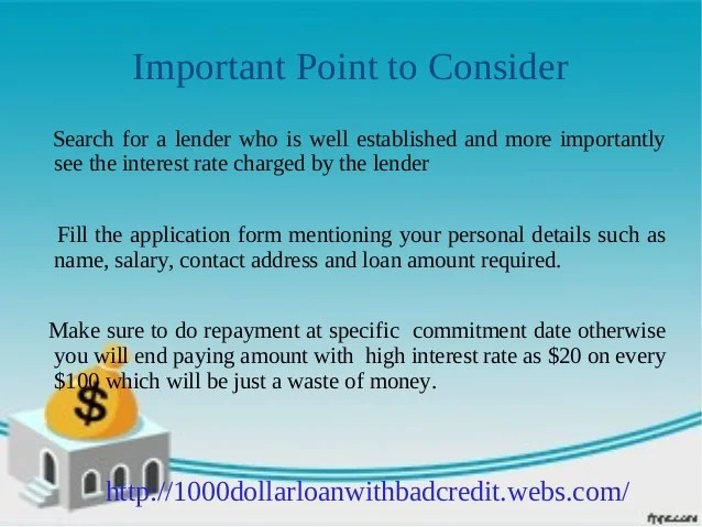 1000 dollar loan for bad credit: Get up to $1000 instantly