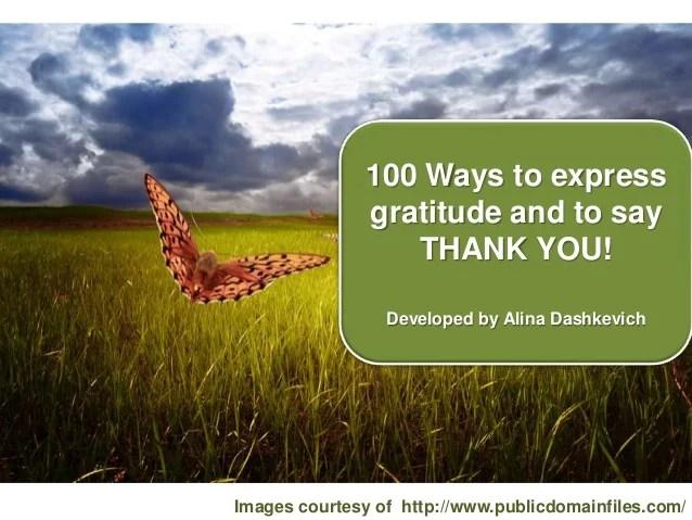 100 ways to express gratitude. THANK YOU cards.