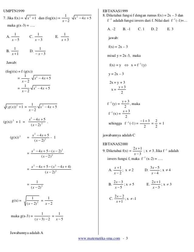 13. soal soal fungsi komposisi dan fungsi invers