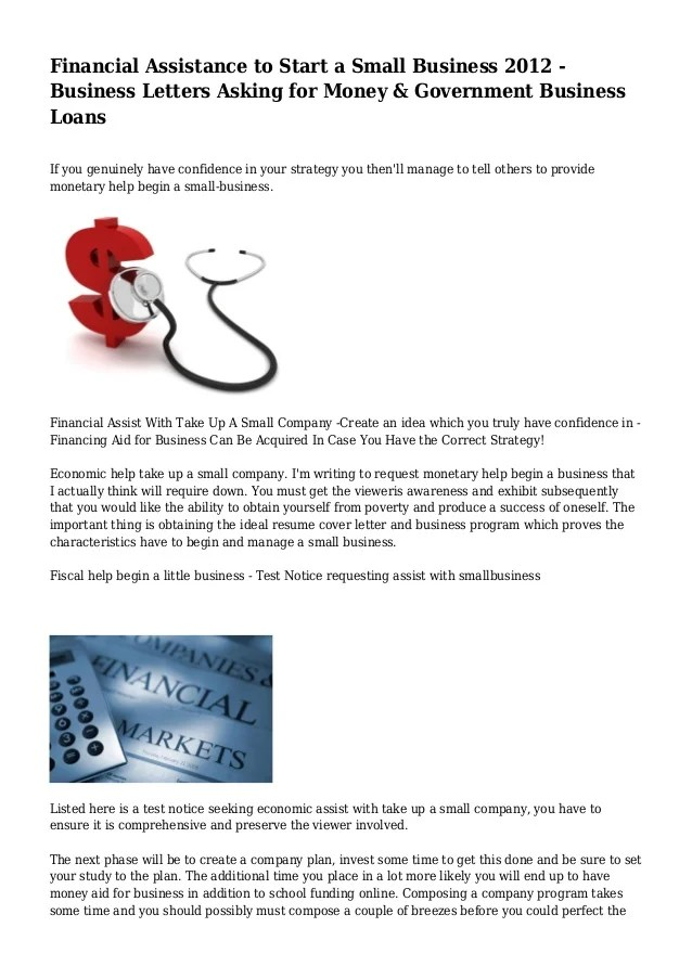 Financial Assistance to Start a Small Business 2012 - Business Letter…