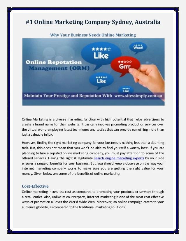 #1 online marketing company sydney, australia