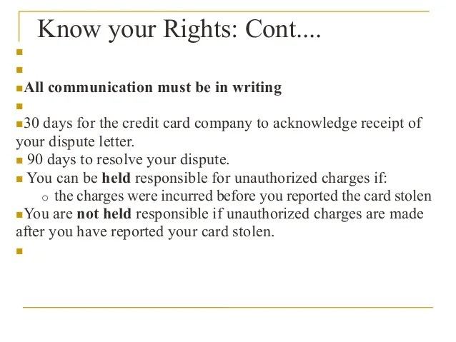 Credit Cards: Know Your Rights
