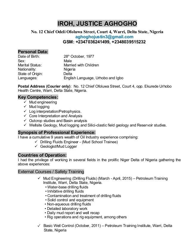 Justice mud Engineering CV_2015