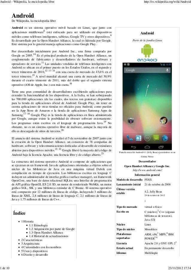 Android wikipedia, la enciclopedia libre