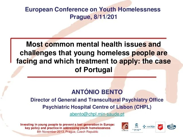 Most common mental health issues and challenges that young homeless p…