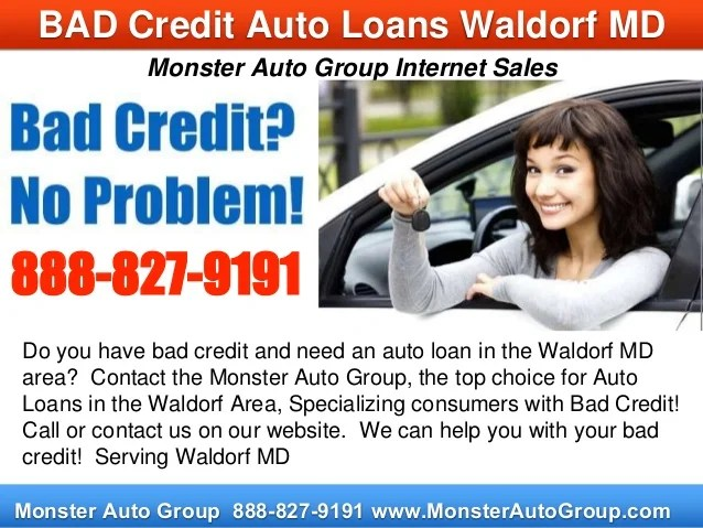 Bad Credit Auto Loans Waldorf MD - Monster Auto Loan