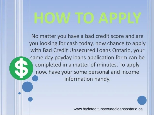 Bad Credit Unsecured Loans Ontario, Canada - Easy Loan Application Fo…