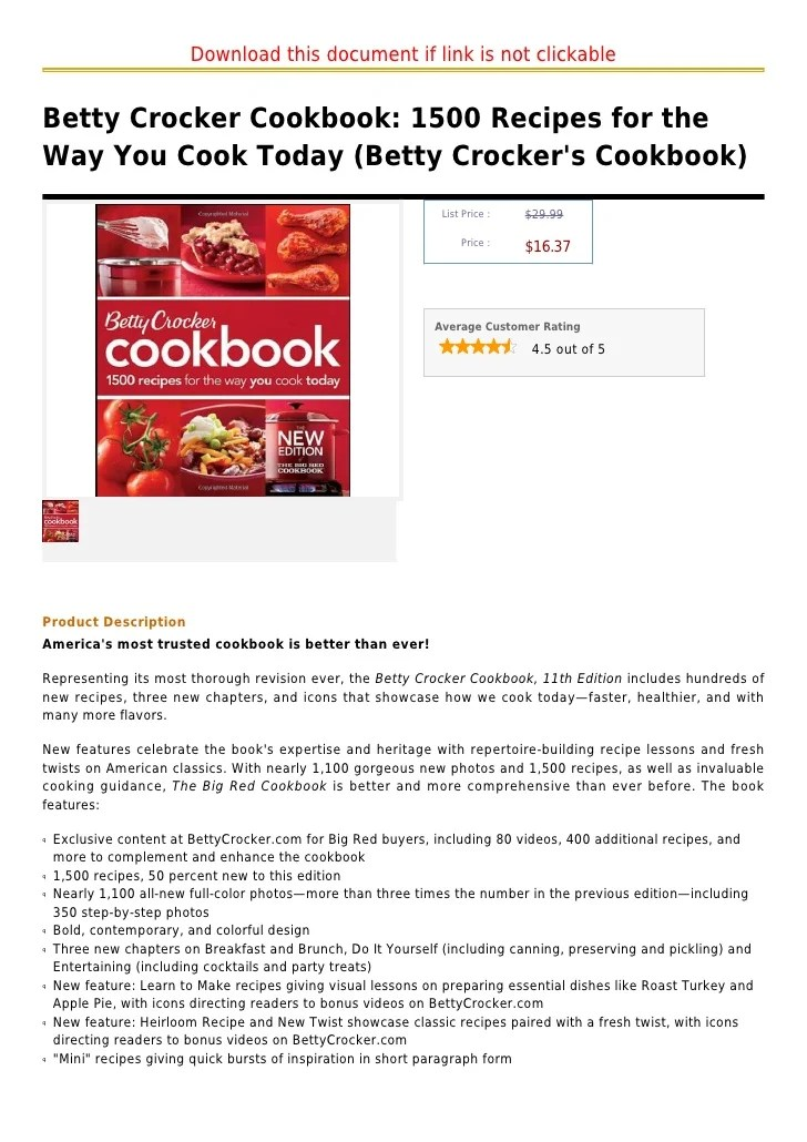 Betty crocker cookbook 1500 recipes for the way you cook today (bett…