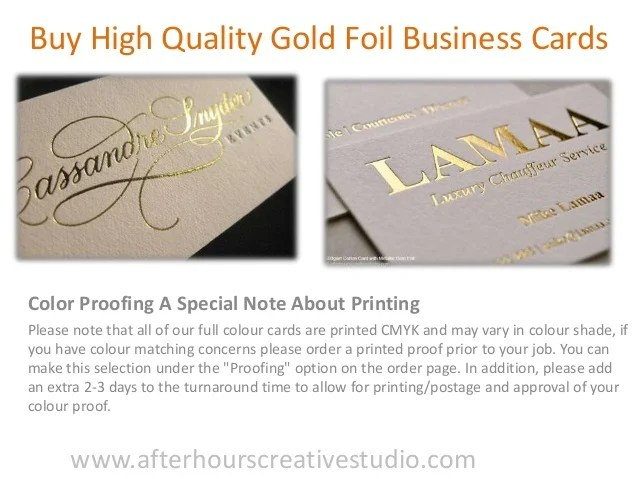 Buy high quality gold foil business cards