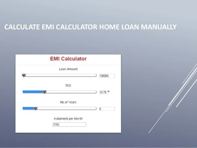 Calculate emi calculator home loan manually
