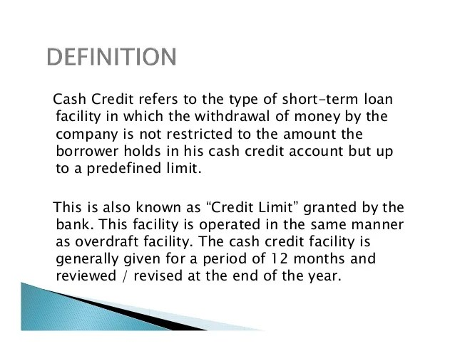 Cash credit presnetation