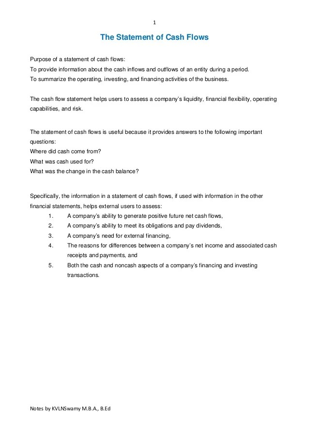Cash flow statements theory and questions