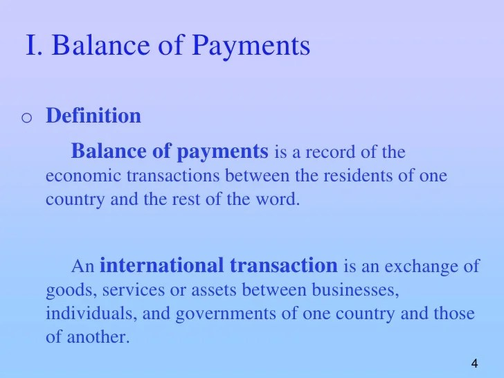 Chapter 10 balance of payment