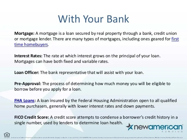 Common Mortgage Terms Explained - New American Funding