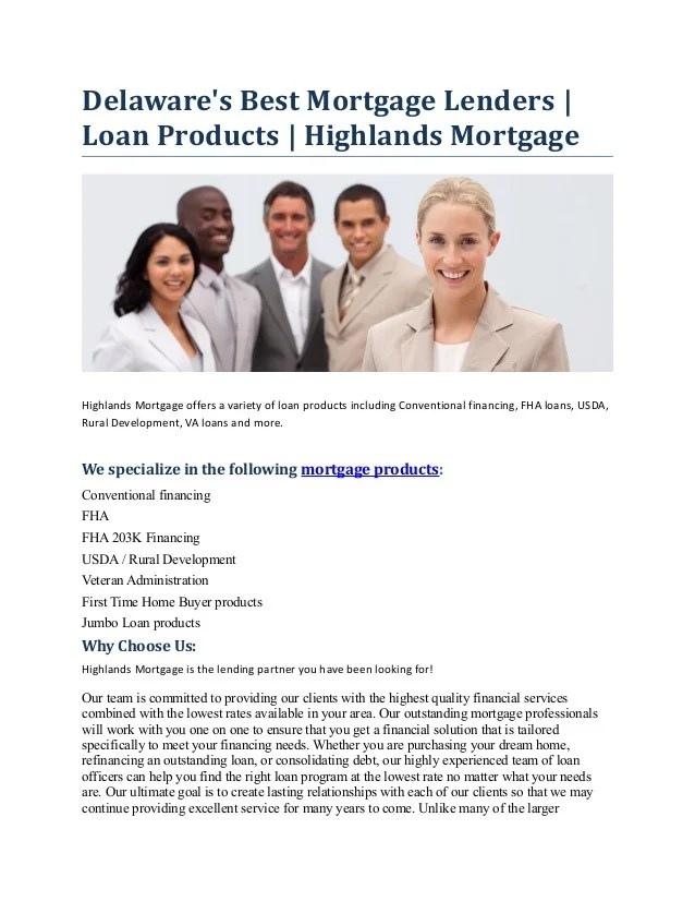 Delaware's Best Mortgage Lenders - Loan Products - Highlands Mortgage