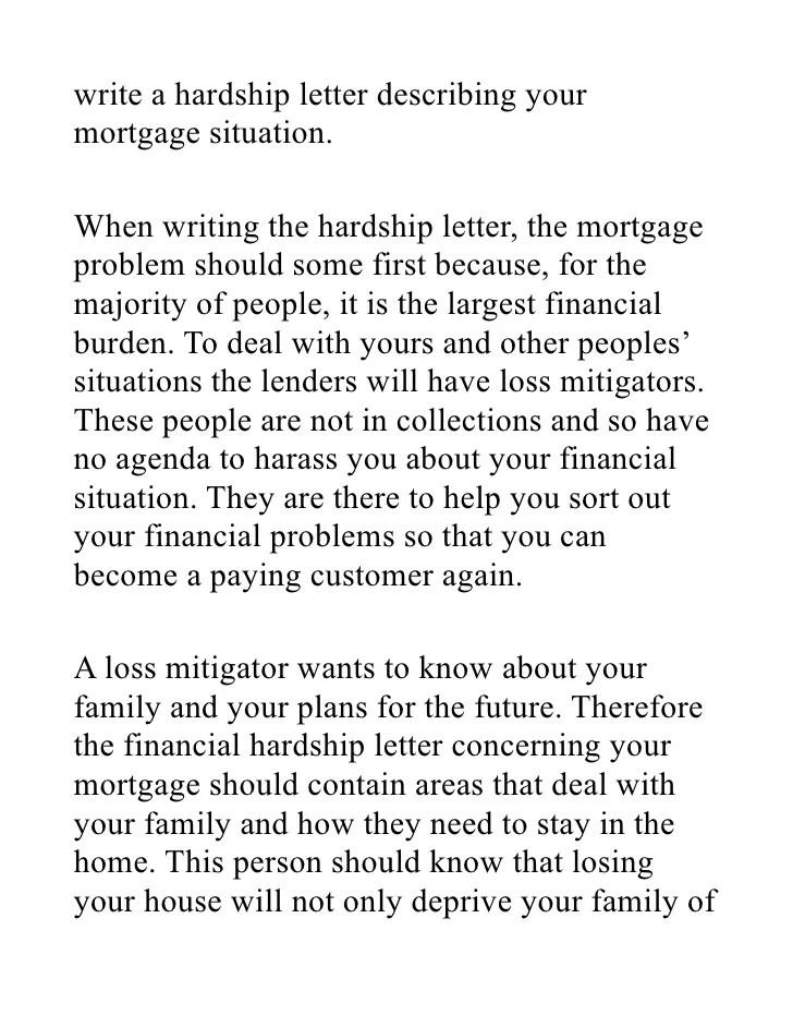 Hardship letter for mortgage reduction