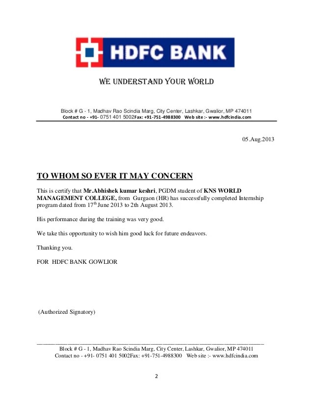 Hdfc Car Loan Approval Letter | future1story.com