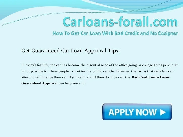 How to get a car loan with bad credit and no cosigner