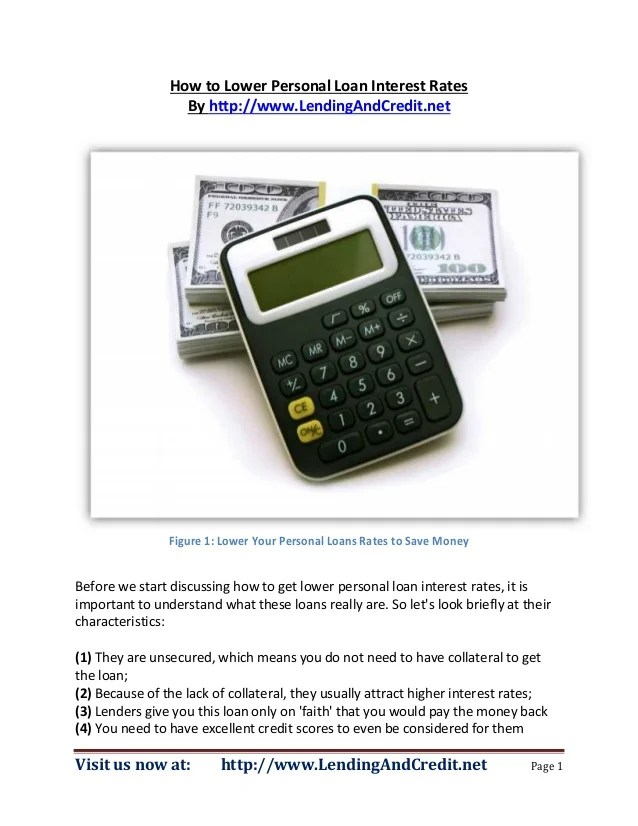 How to Lower Personal Loan Interest Rates