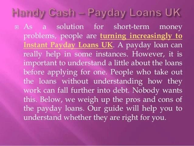 Instant Cash Payday Loans UK - Advantages and Disadvantages