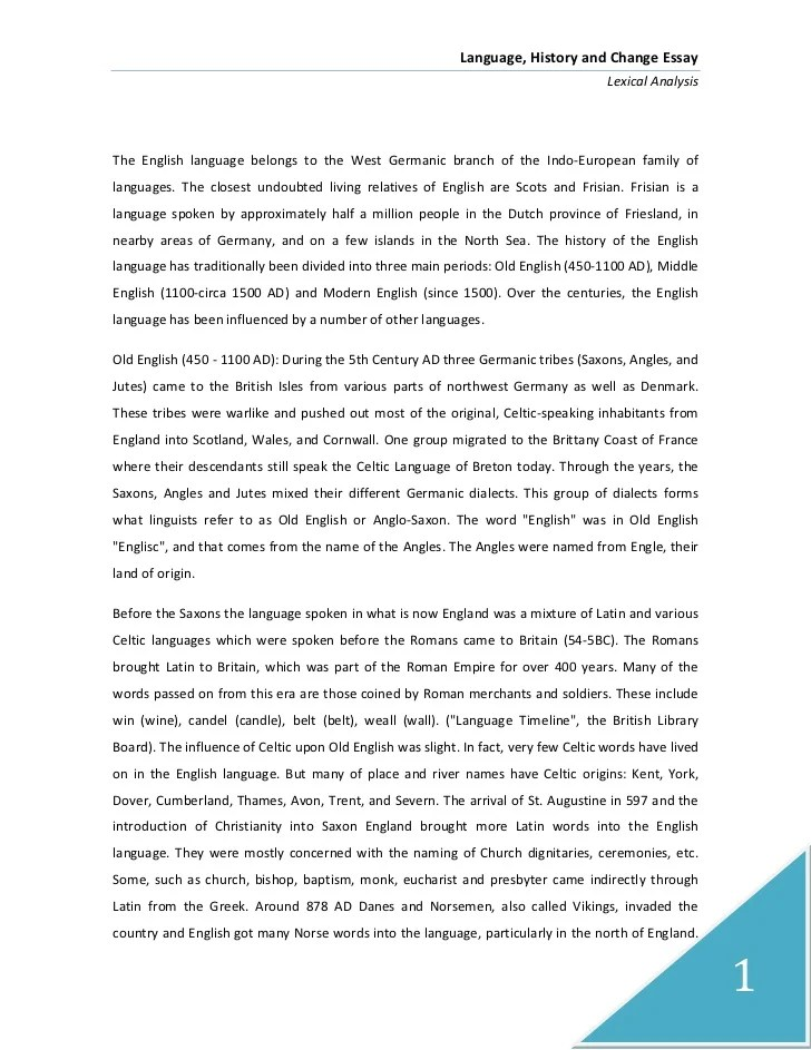 Language, history and change essay