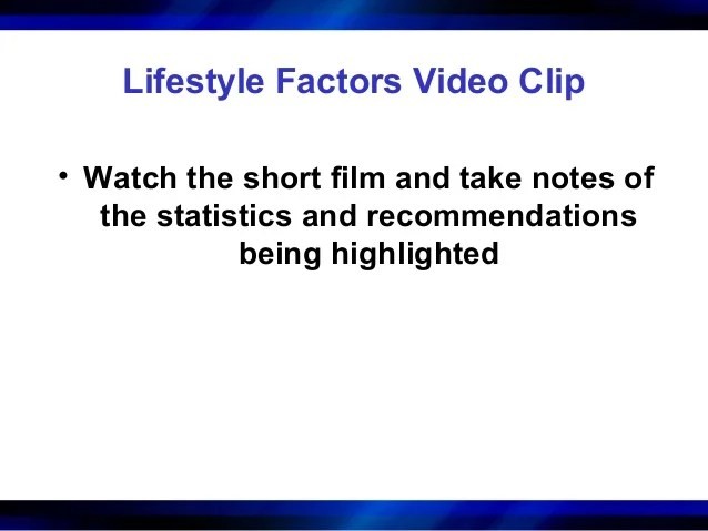 Lifestyle factors physical_activity