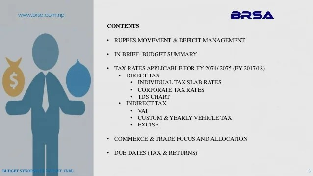 Nepal Budget Synopsis FY 2074 75 (FY 2017-18) BRSA-ELITE