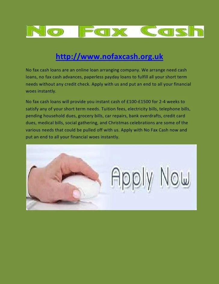 No Fax Cash- Paperless Payday Loans- No Credit Check Loans