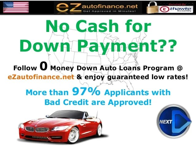 No Money for Down Payment? Auto Loans with Sub-prime Credit History?