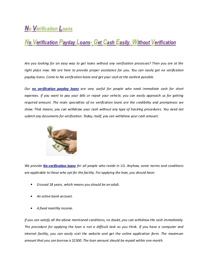 No verification payday loans- Get Cash Easily, Without Verification