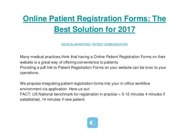 Online Patient Registration Forms the best solution for 2017