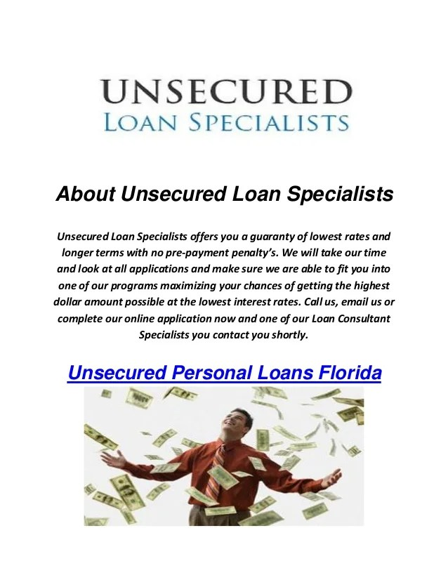 Unsecured Loan Specialists : Personal Loans Florida