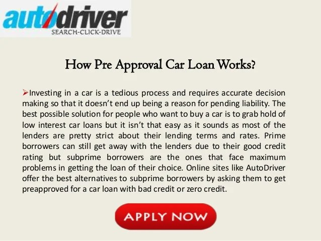 Pre Approved Auto Loan Bad Credit