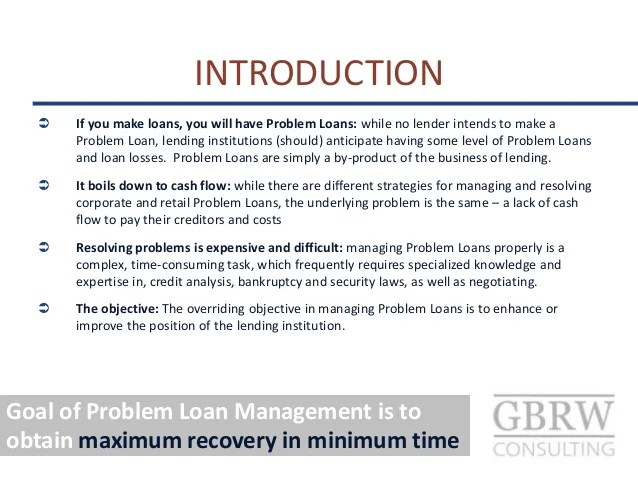 Principles of Problem Loan Management