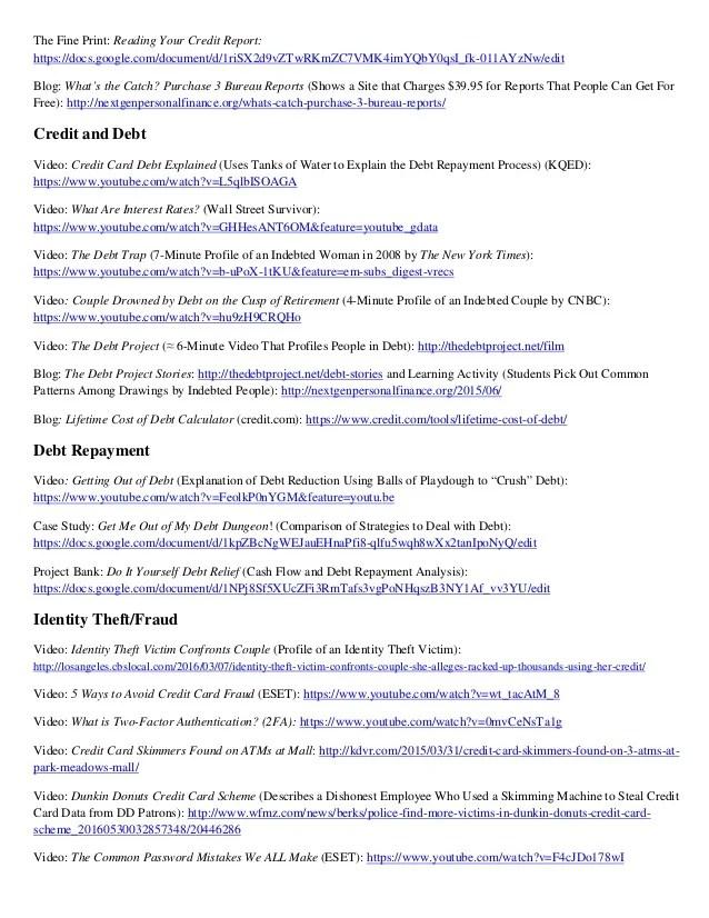 Resource List-Next Gen PF Financial Education Resources