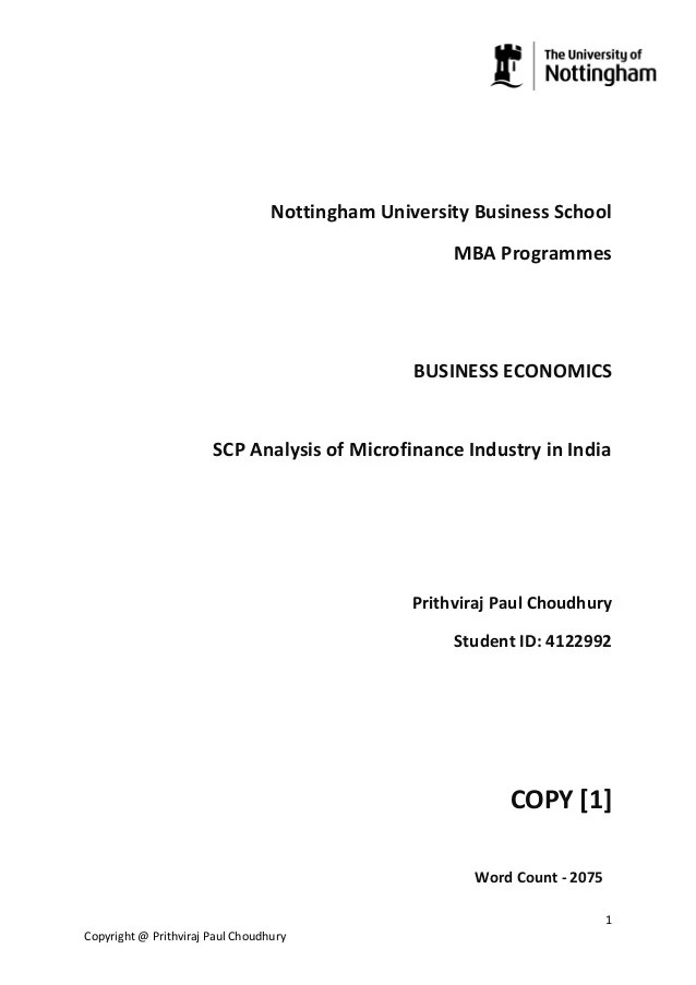 S-C-P analysis of microfinance industry in india