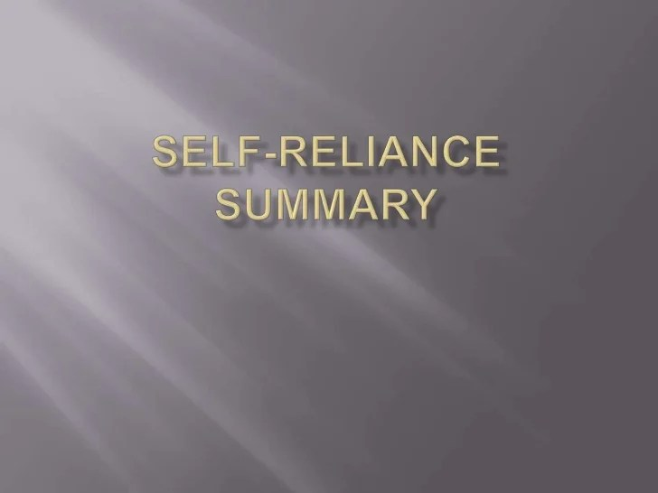 Self reliance summary