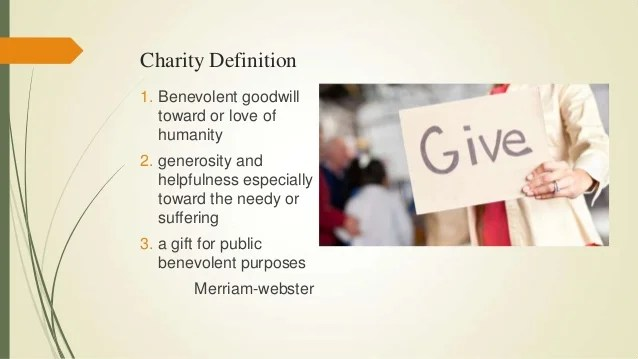 The meaning of charity