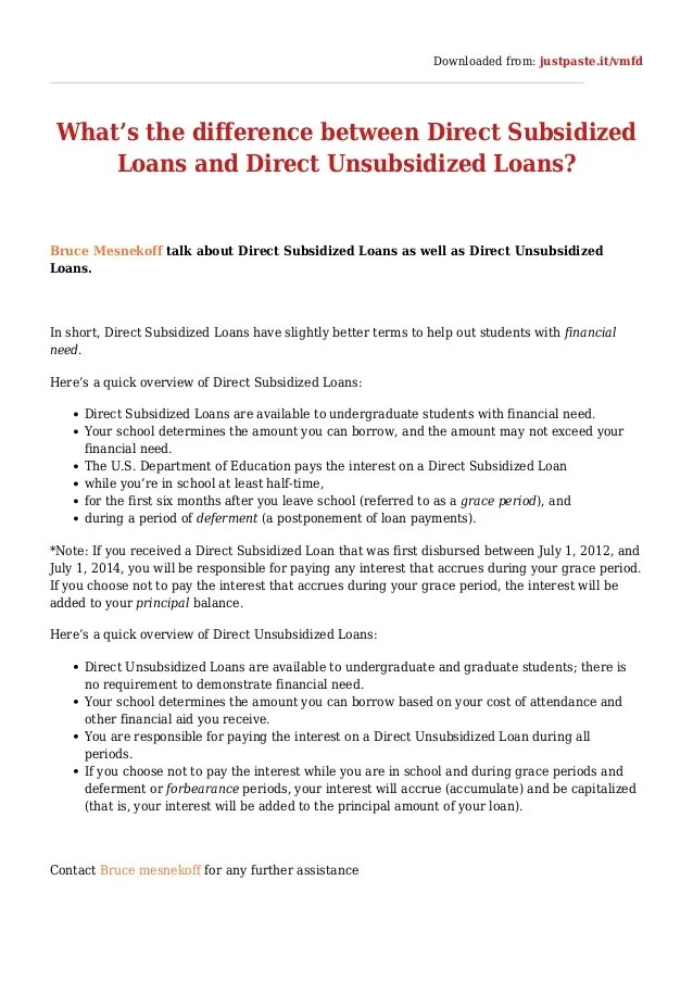 What's the difference between direct subsidized loans and direct unsu…