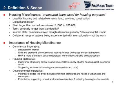PPT - 'A Mouse That Roared'? Housing Microfinance in South Africa: Status, Problems and ...