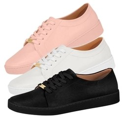 Tênis Sapatênis Vizzano Feminino Casual Urbano 1214.205 Confortável Flatform Preto Rosa Branco Lançamento Moda Fashion