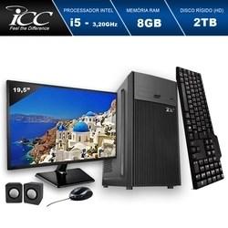 Computador ICC IV2583CM19 Intel Core I5 3.20 ghz 8GB HD 2TB DVDRW Kit Multimídia Monitor LED 19,5