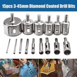 Kit 15 pcs Broca Diamantada 3mm-45 mm