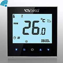 Termóstato Caldera Inalámbrico, Interruptor BECA Pantalla táctil LCD 3A Calentador de agua / gas Calentador de temperatura programable Calentador de termostato (3A para calefacción de caldera (WIFI), negro)