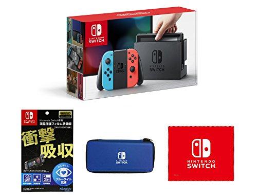 【Amazon.co.jp限定】【液晶保護フィルム多機能付き(任天堂ライセンス商品)】Nintendo Switch Joy-Con(L) ネオンブルー/(R) ネオンレッド+専用スマートポーチ(EVA)ブルー+マイクロファイバークロス (3/17以降お届け)