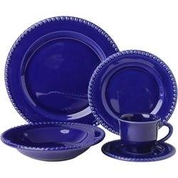 Aparelho De Jantar Poá 20 Peças Azul Cobalto - La Cuisine