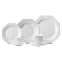 Aparelho De Jantar Chá Café Schmidt Porcelana Prisma 42 Peças