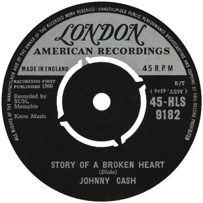 45cat - Johnny Cash - Down The Street To 301 / Story Of A Broken Heart - London - UK - HLS 9182