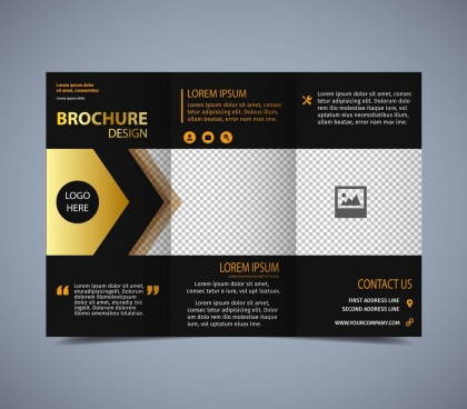 Brochure free vector download  2 413 Free vector  for commercial use     brochure template modern trifold design dark background